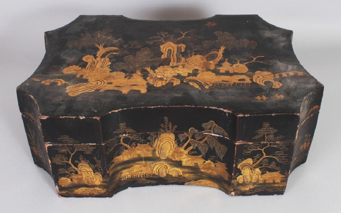 AN EARLY 20TH CENTURY CHINESE SHAPED LACQUER BOX &