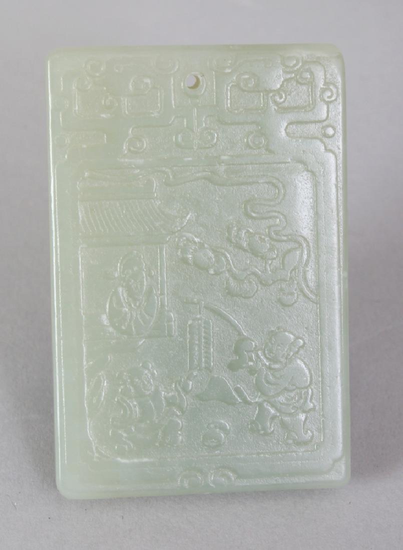 A CHINESE CELADON JADE PENDANT, of rectangular form,