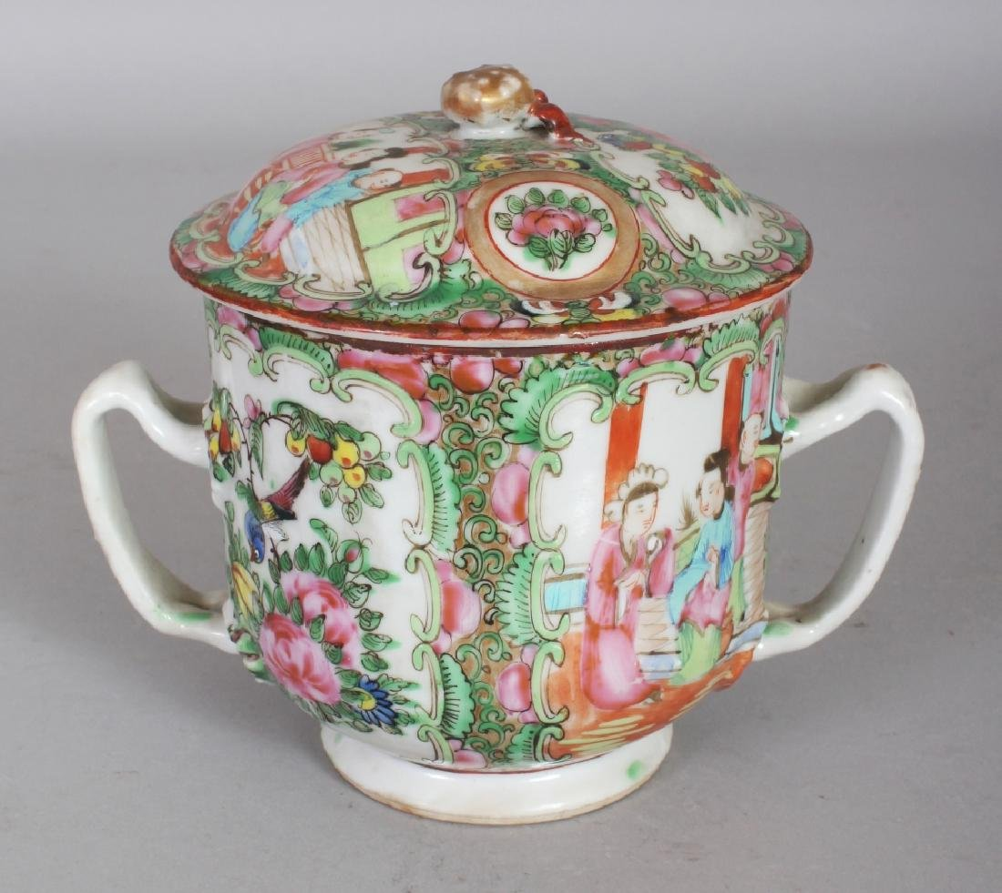 A CHINESE CANTON PORCELAIN SUGAR BASIN & COVER, 6in