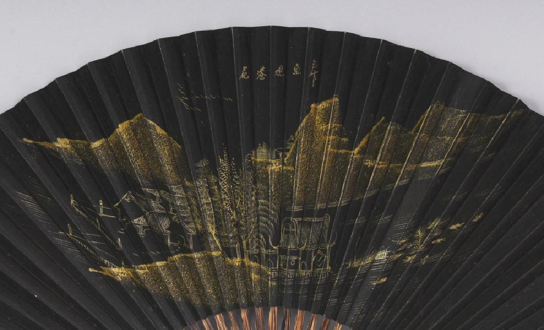 A 20TH CENTURY CHINESE BLACK GROUND GILT DECORATED - 3