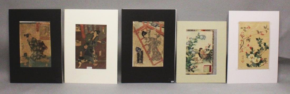 A GROUP OF FIVE MOUNTED ORIGINAL JAPANESE WOODBLOCK