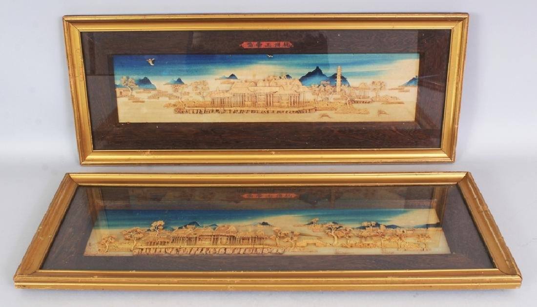 A PAIR OF 20TH CENTURY FRAMED CHINESE CORK PICTURES,