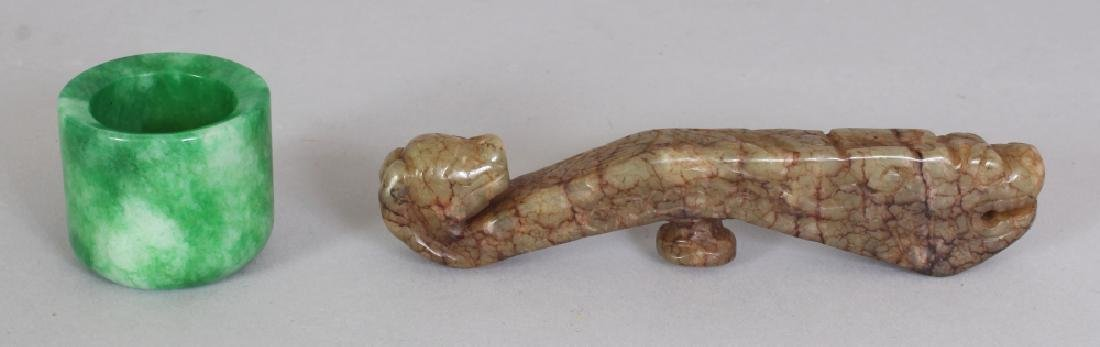 A CHINESE JADE BELT HOOK, of archaic design, 4.25in;