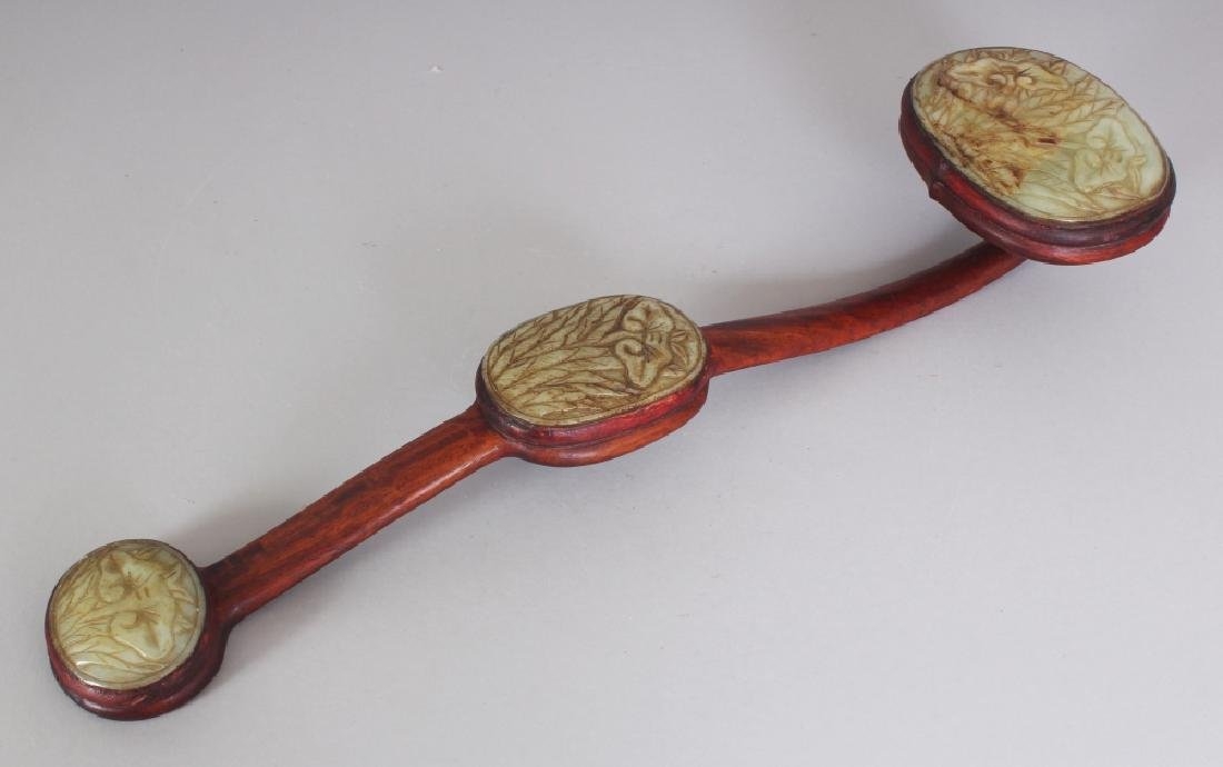 A 20TH CENTURY CHINESE JADE & WOOD SCEPTRE, the wood