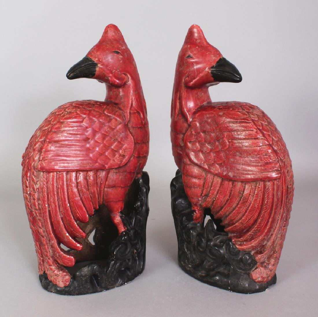 A PAIR OF 20TH CENTURY CHINESE RED GLAZED PORCELAIN