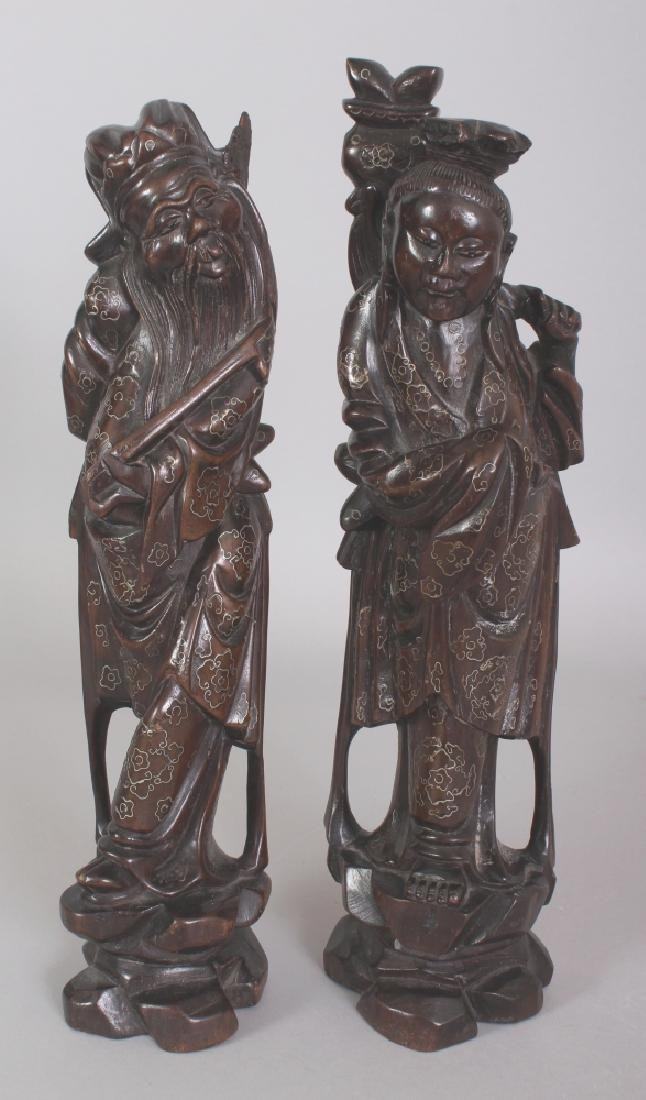 A PAIR OF 20TH CENTURY CHINESE WIRE INLAID CARVED WOOD