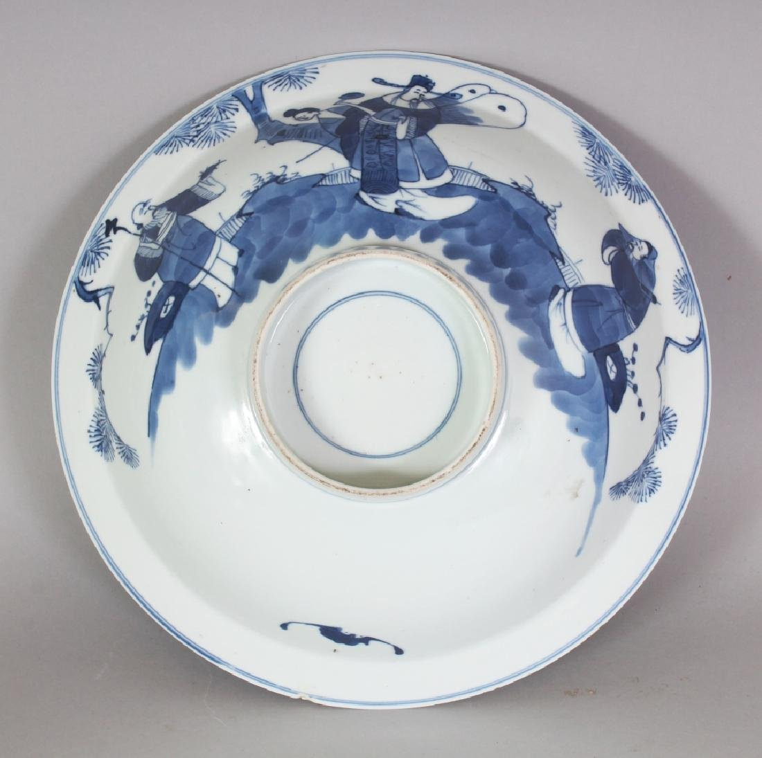 A 19TH CENTURY CHINESE BLUE & WHITE PORCELAIN BOWL, - 4