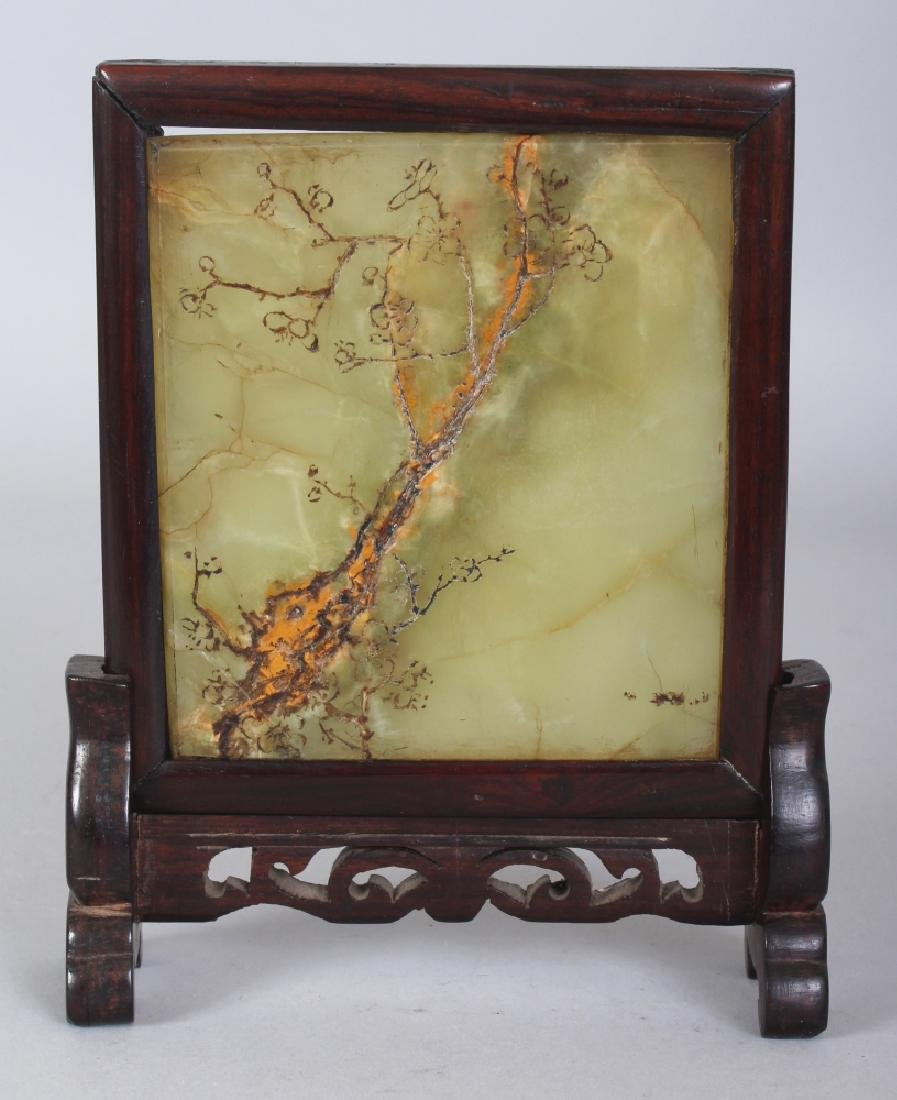 A 20TH CENTURY CHINESE WOOD FRAMED CELADON JADE TABLE
