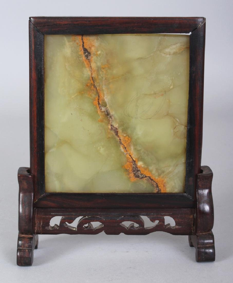 A 20TH CENTURY CHINESE WOOD FRAMED CELADON JADE TABLE - 3