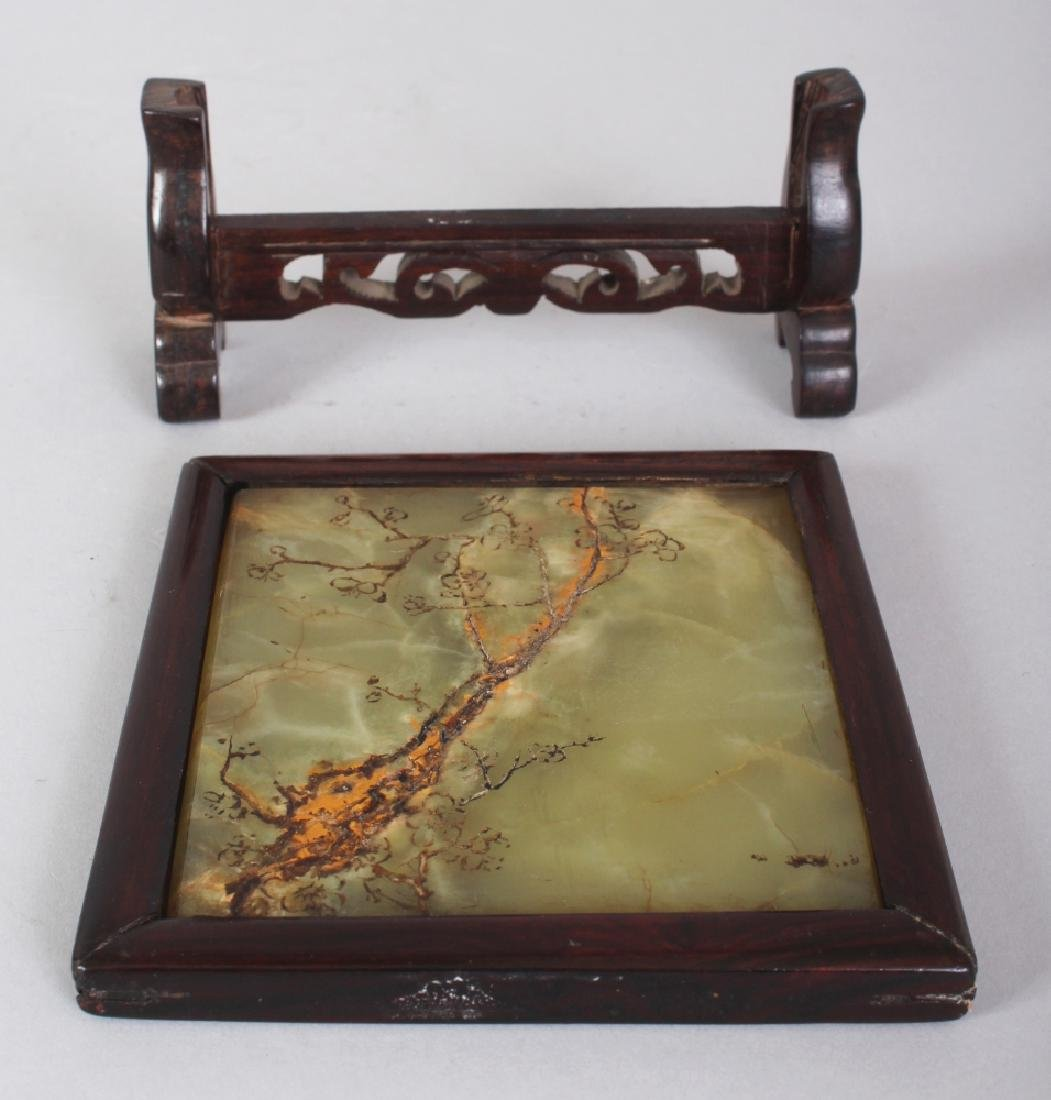 A 20TH CENTURY CHINESE WOOD FRAMED CELADON JADE TABLE - 6