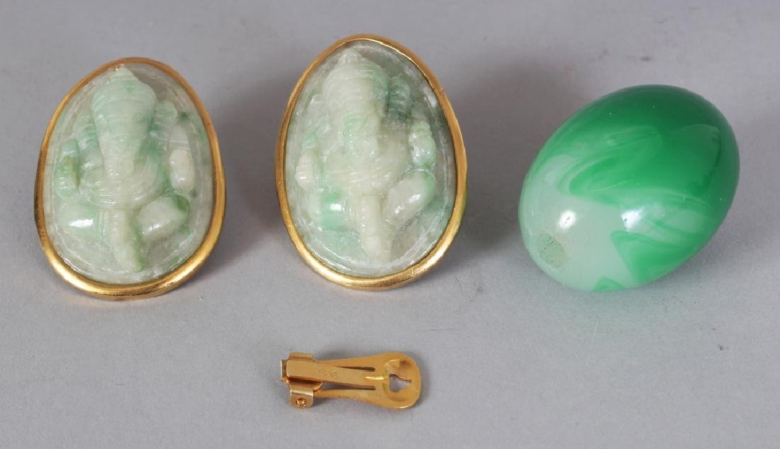 A PAIR OF LARGE CHINESE APPLE-GREEN JADE-LIKE HARDSTONE