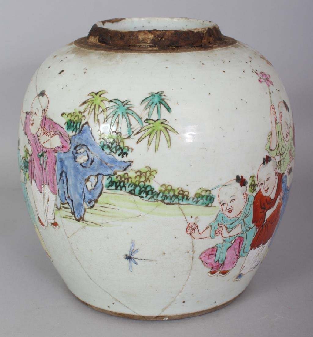 AN 18TH CENTURY CHINESE FAMILLE ROSE PORCELAIN JAR, - 4