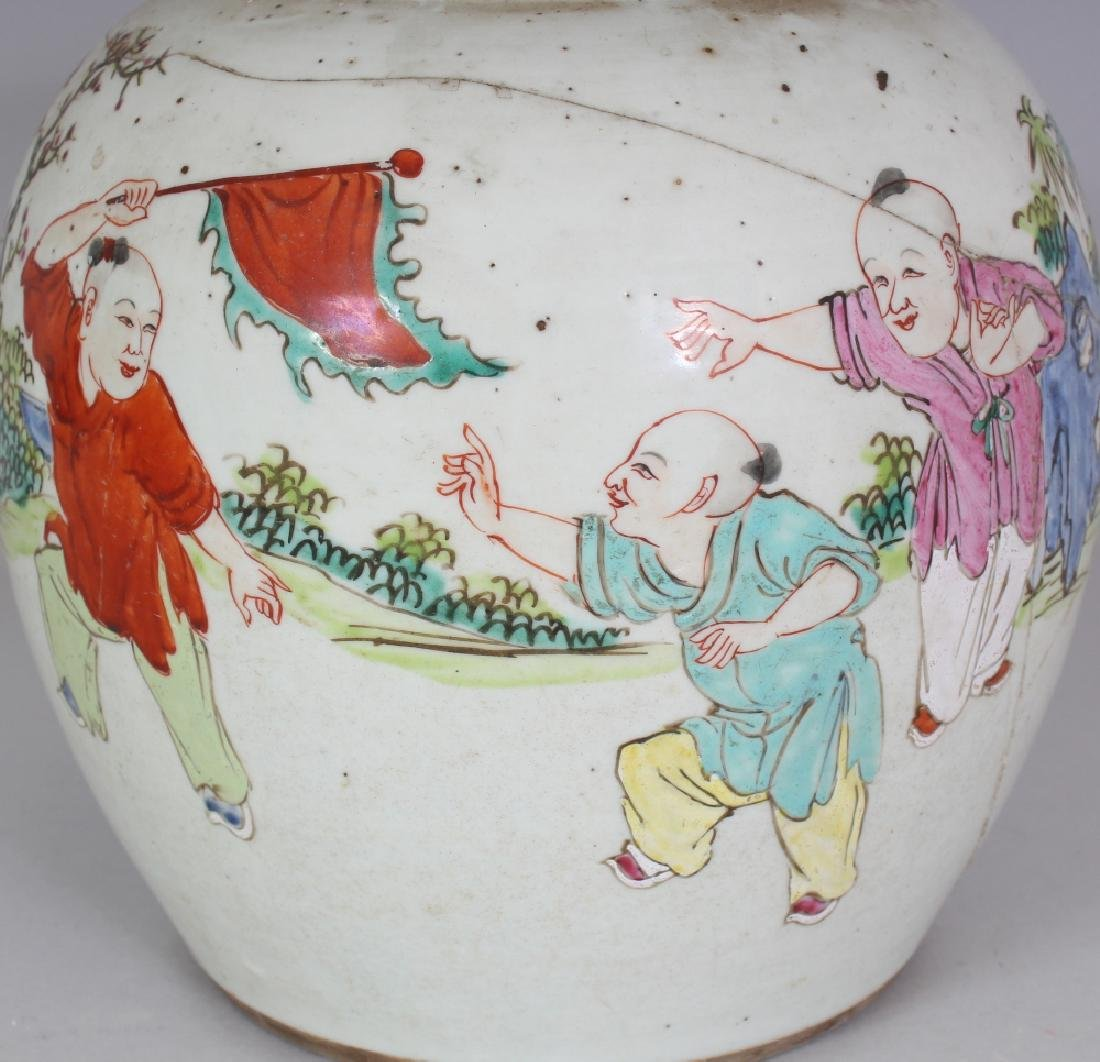 AN 18TH CENTURY CHINESE FAMILLE ROSE PORCELAIN JAR, - 5