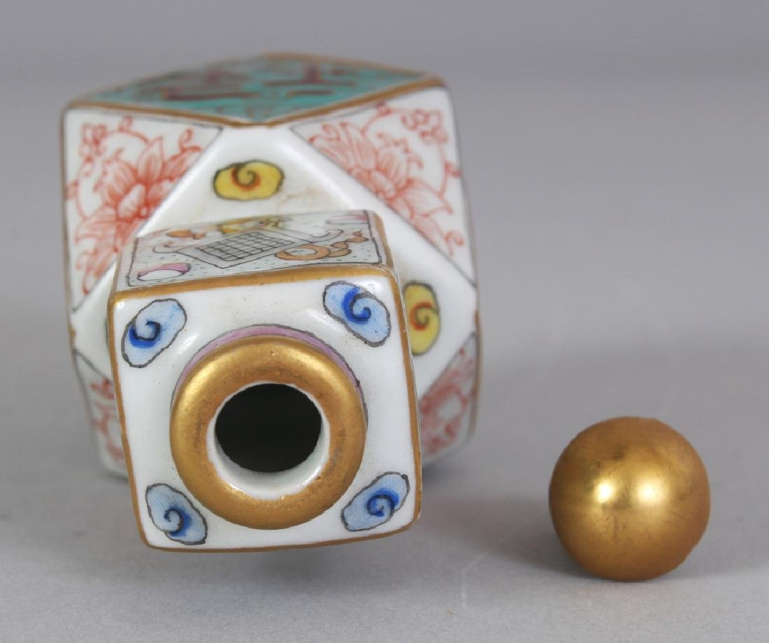 AN UNUSUAL CHINESE FACETTED PORCELAIN SNUFF BOTTLE & - 6