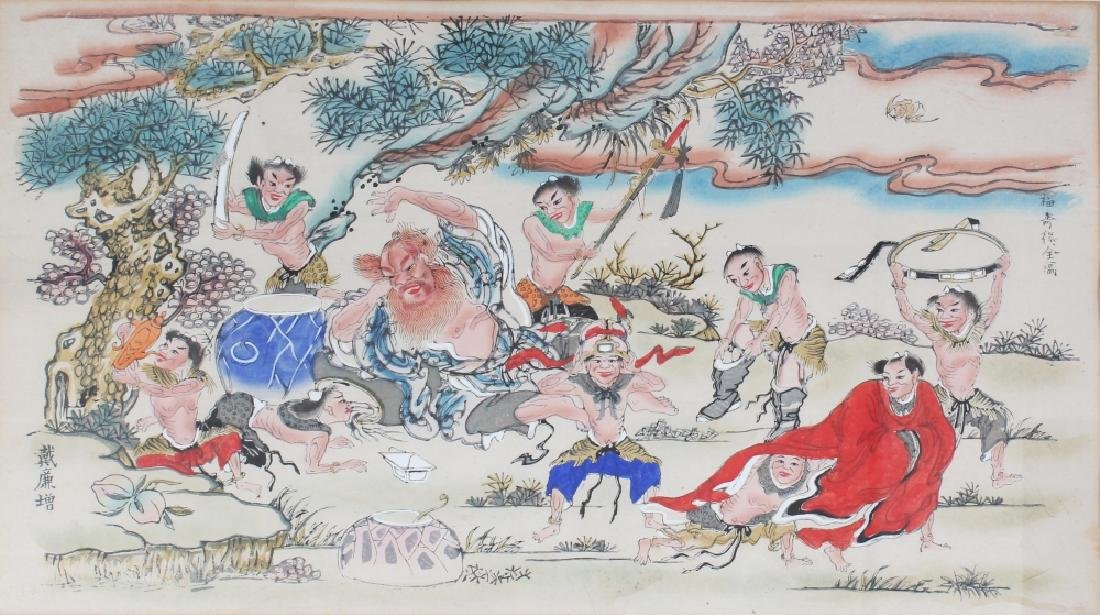 A 20TH CENTURY FRAMED CHINESE PAINTING ON PAPER OF A
