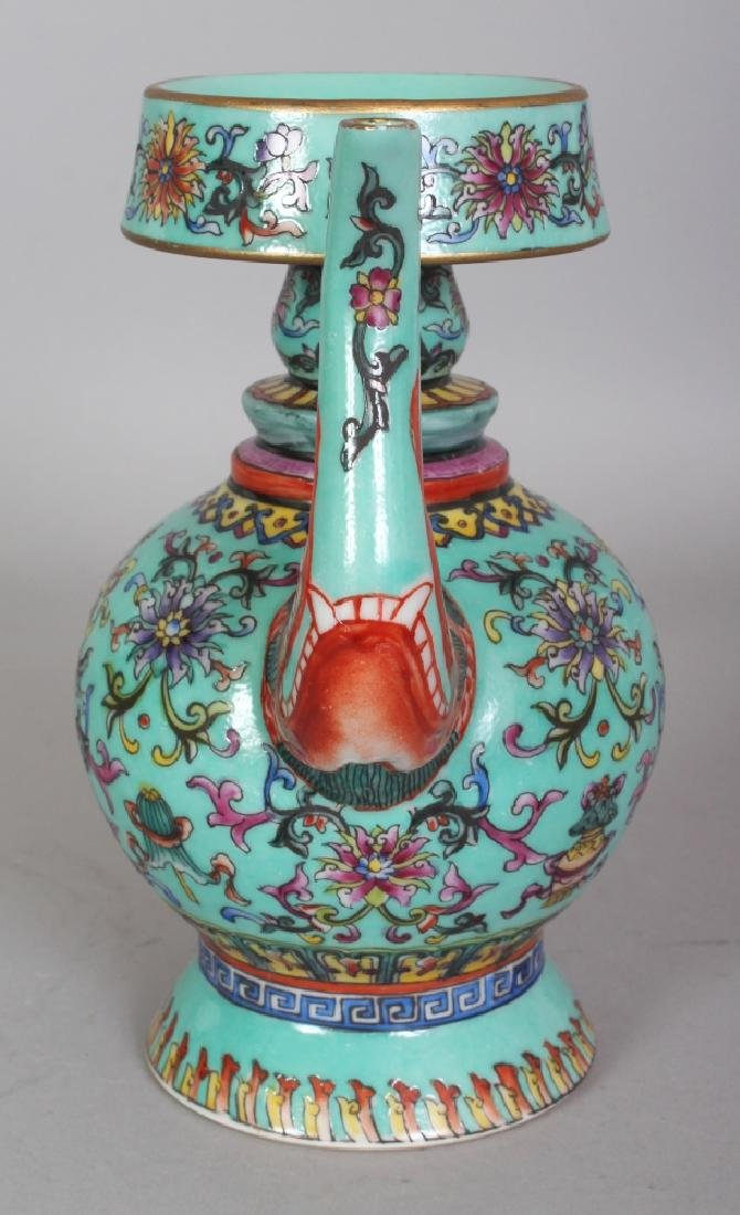 A CHINESE TIBETAN MARKET TURQUOISE GROUND FAMILLE ROSE - 2