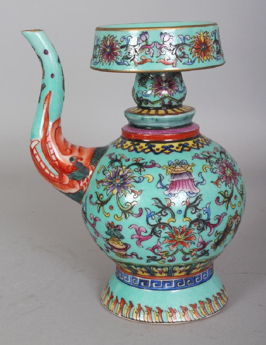 A CHINESE TIBETAN MARKET TURQUOISE GROUND FAMILLE ROSE - 3