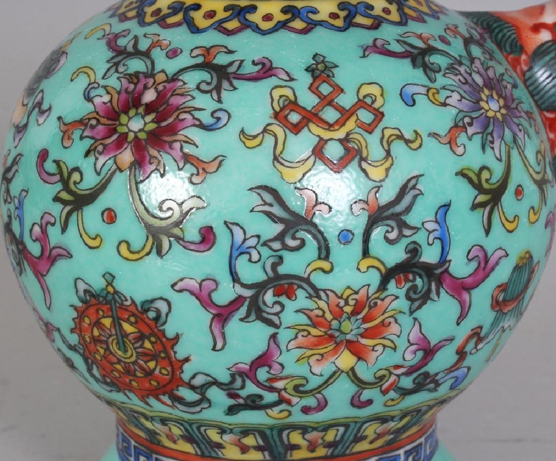 A CHINESE TIBETAN MARKET TURQUOISE GROUND FAMILLE ROSE - 5