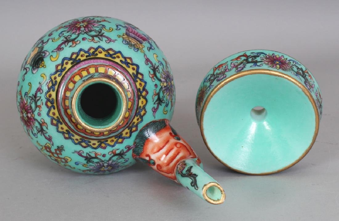 A CHINESE TIBETAN MARKET TURQUOISE GROUND FAMILLE ROSE - 7