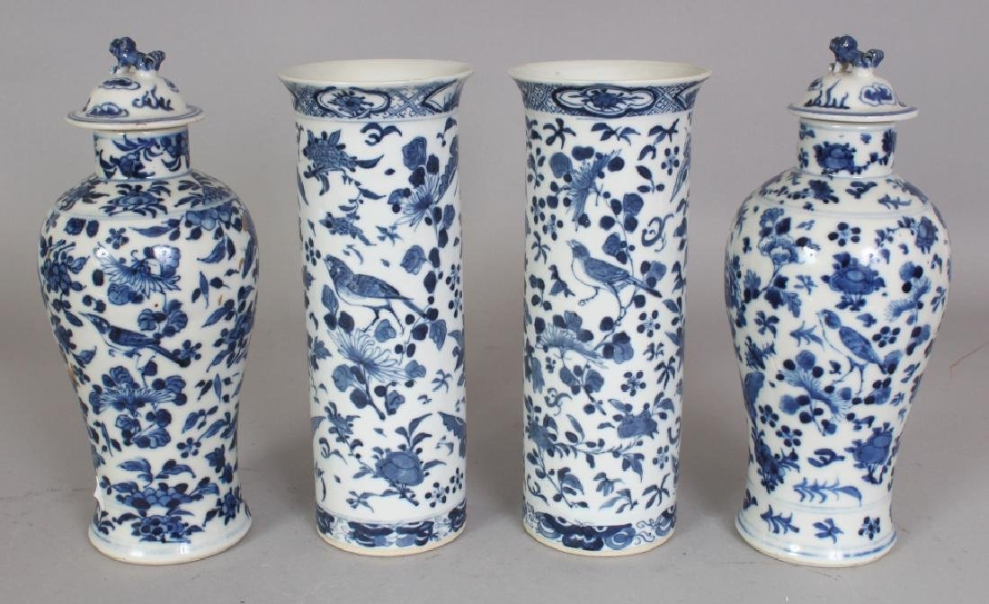 A GARNITURE OF FOUR 19TH CENTURY CHINESE BLUE & WHITE