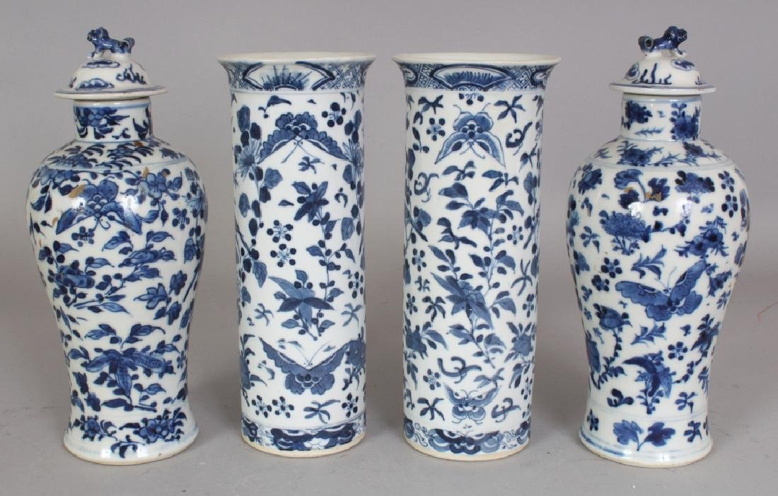 A GARNITURE OF FOUR 19TH CENTURY CHINESE BLUE & WHITE - 2