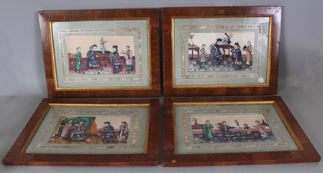 A SET OF FOUR FRAMED 19TH CENTURY CHINESE PAINTINGS ON