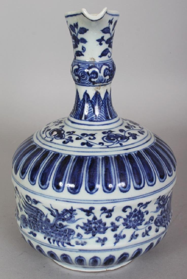 A CHINESE MING STYLE BLUE & WHITE PORCELAIN PHOENIX - 2