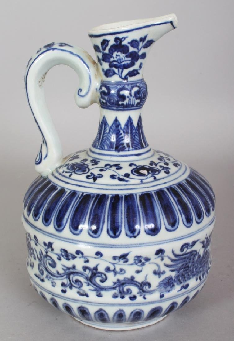 A CHINESE MING STYLE BLUE & WHITE PORCELAIN PHOENIX - 3