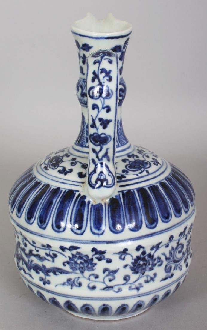 A CHINESE MING STYLE BLUE & WHITE PORCELAIN PHOENIX - 4
