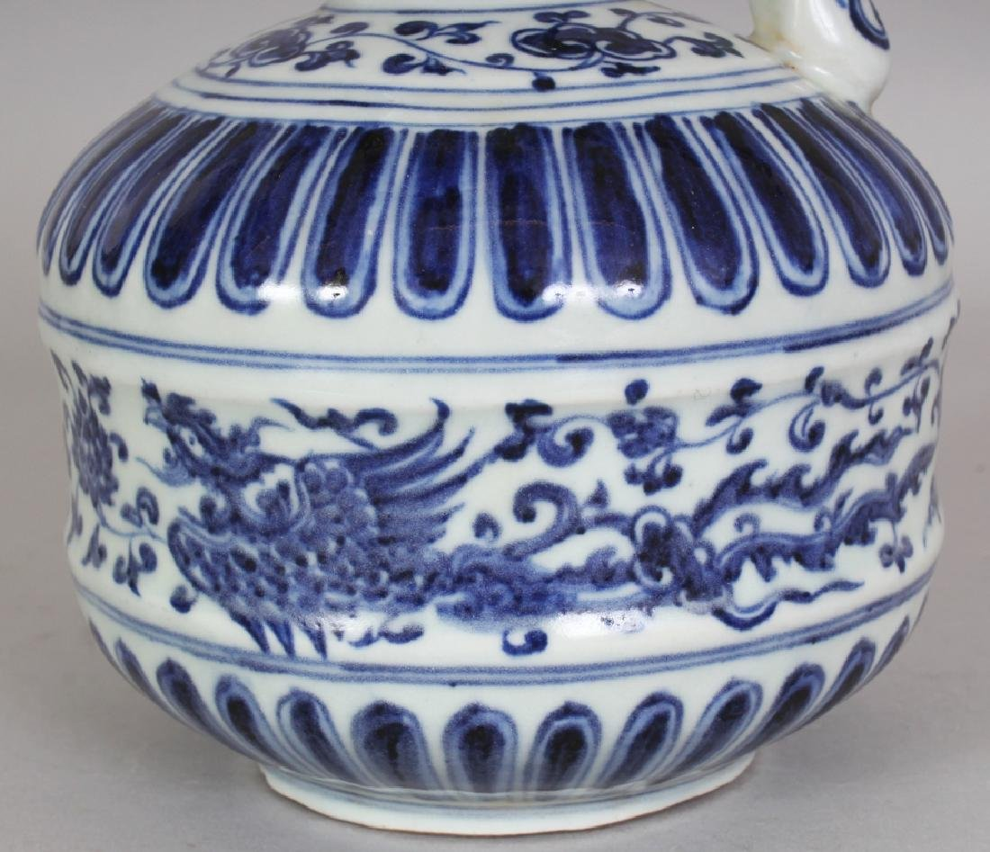 A CHINESE MING STYLE BLUE & WHITE PORCELAIN PHOENIX - 5