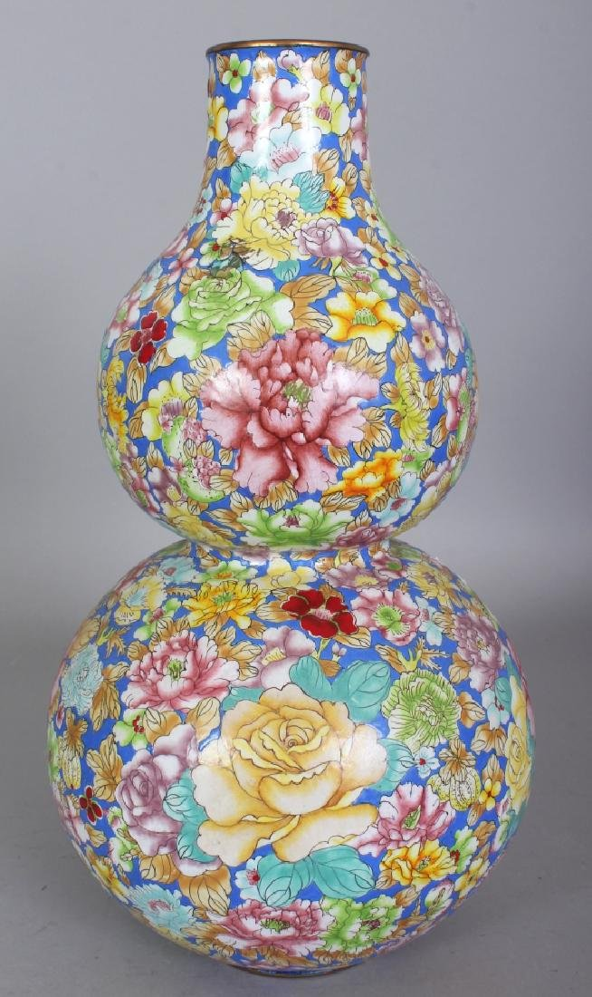 A CHINESE CANTON ENAMEL MILLEFLEUR DOUBLE GOURD VASE, - 2