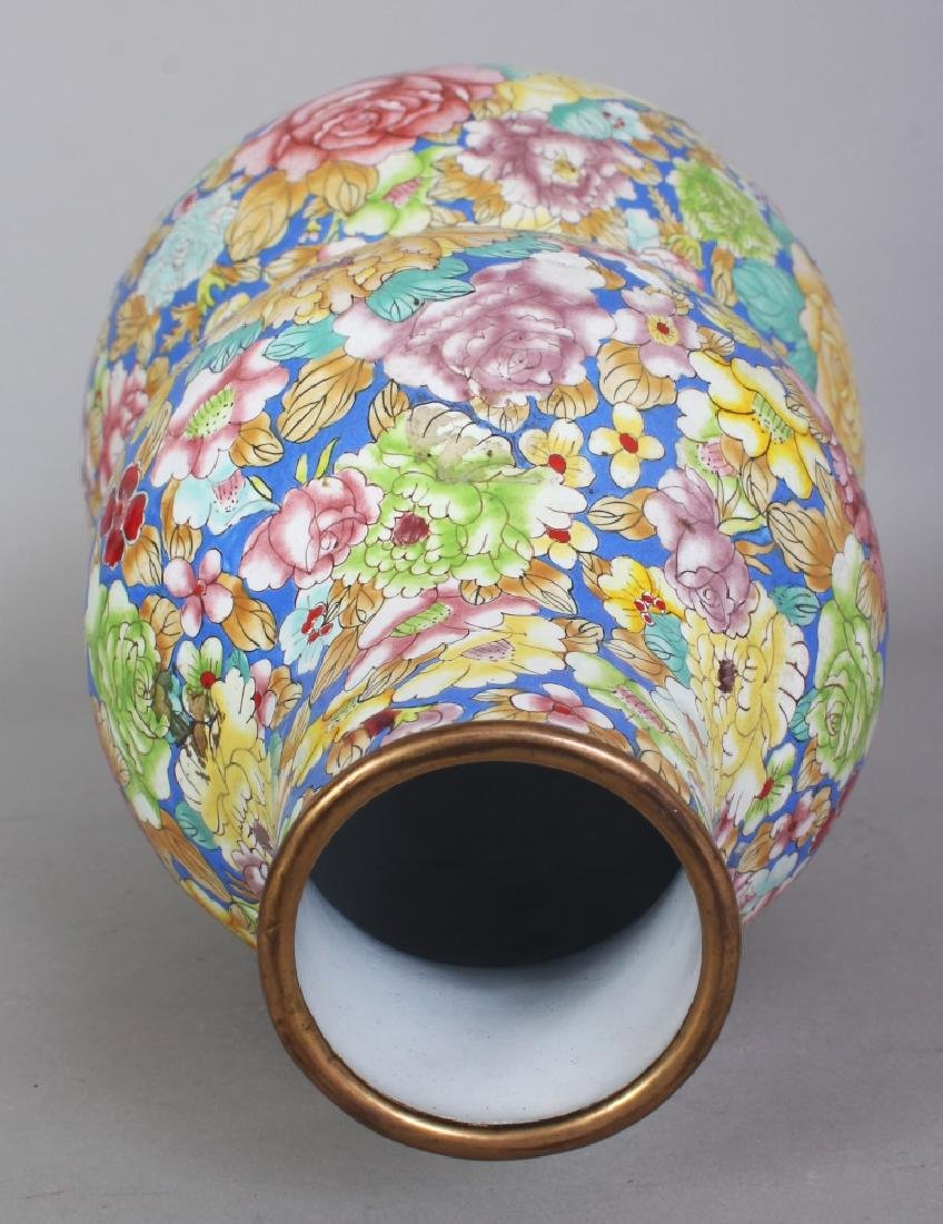 A CHINESE CANTON ENAMEL MILLEFLEUR DOUBLE GOURD VASE, - 4