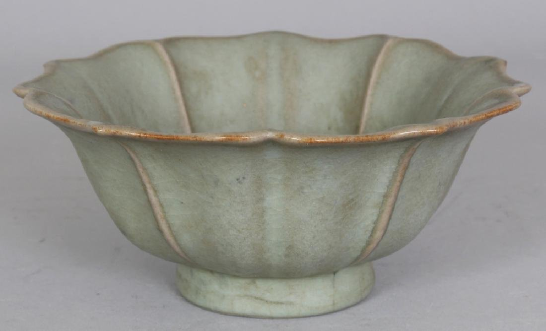 A CHINESE SONG STYLE CELADON GLAZED PORCELAIN LOTUS