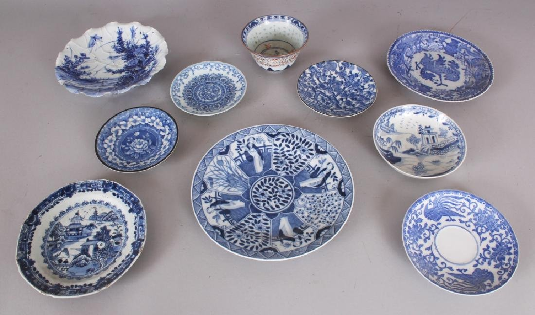TEN PIECES OF MAINLY CHINESE BLUE & WHITE PORCELAIN,