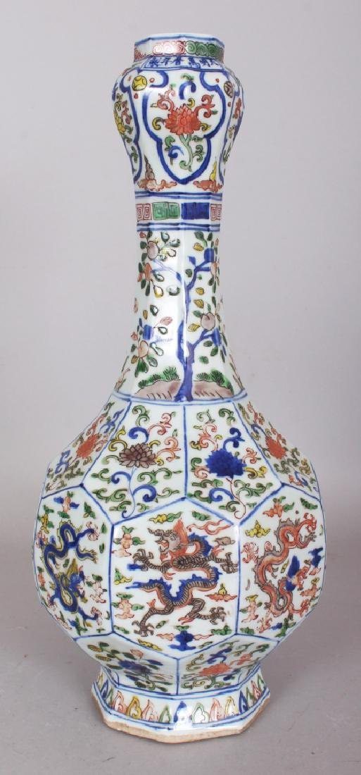 A CHINESE WANLI STYLE WUCAI PORCELAIN BOTTLE VASE, of