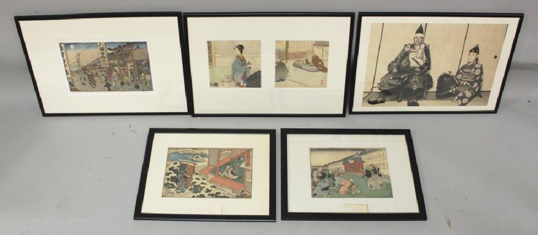 A GROUP OF FOUR FRAMED JAPANESE MEIJI PERIOD WOODBLOCK