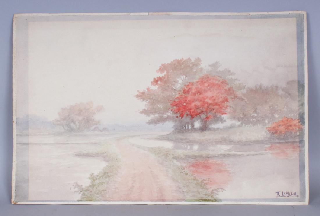 AN EARLY 20TH CENTURY JAPANESE WATERCOLOUR LANDSCAPE
