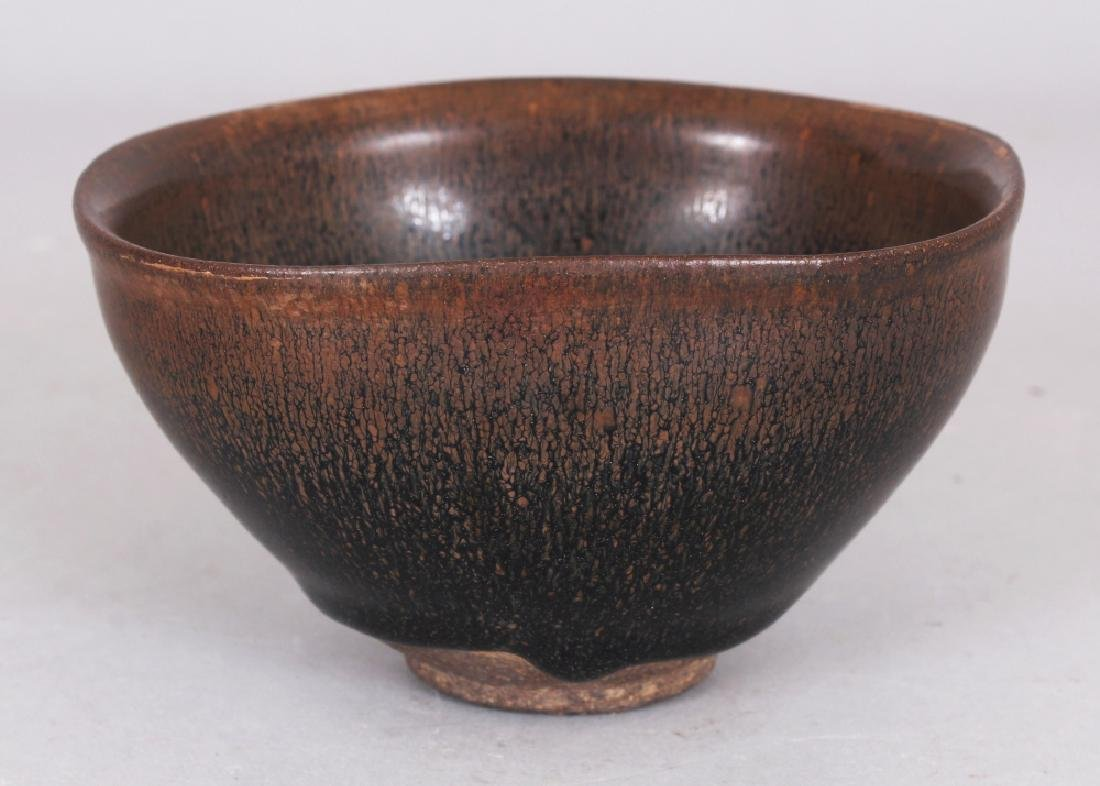 A CHINESE SONG STYLE JIAN WARE HARE'S FUR CERAMIC BOWL,