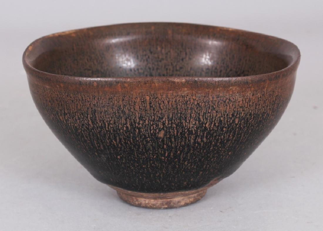 A CHINESE SONG STYLE JIAN WARE HARE'S FUR CERAMIC BOWL, - 2
