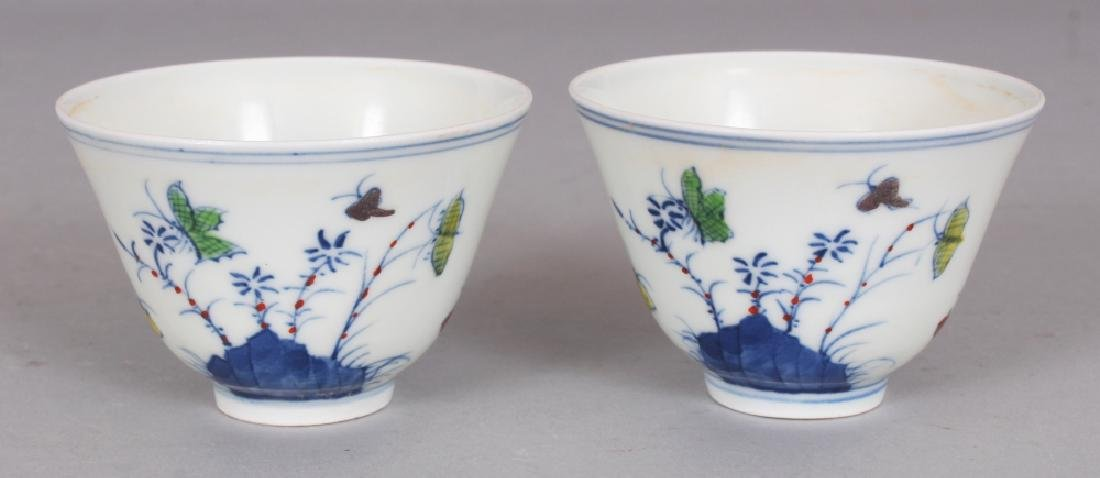 A PAIR OF MING STYLE DOUCAI PORCELAIN WINE CUPS,