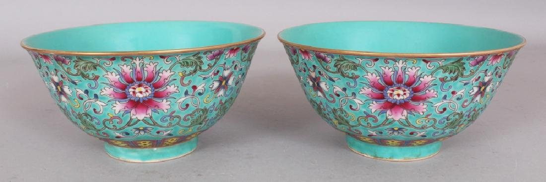 A PAIR OF CHINESE FAMILLE ROSE TURQUOISE GROUND LOTUS
