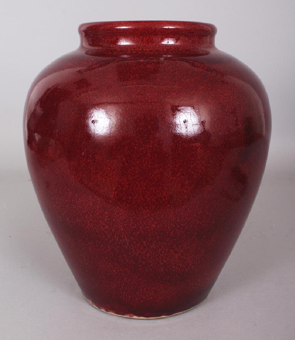 A CHINESE COPPER RED OVOID PORCELAIN VASE, applied with