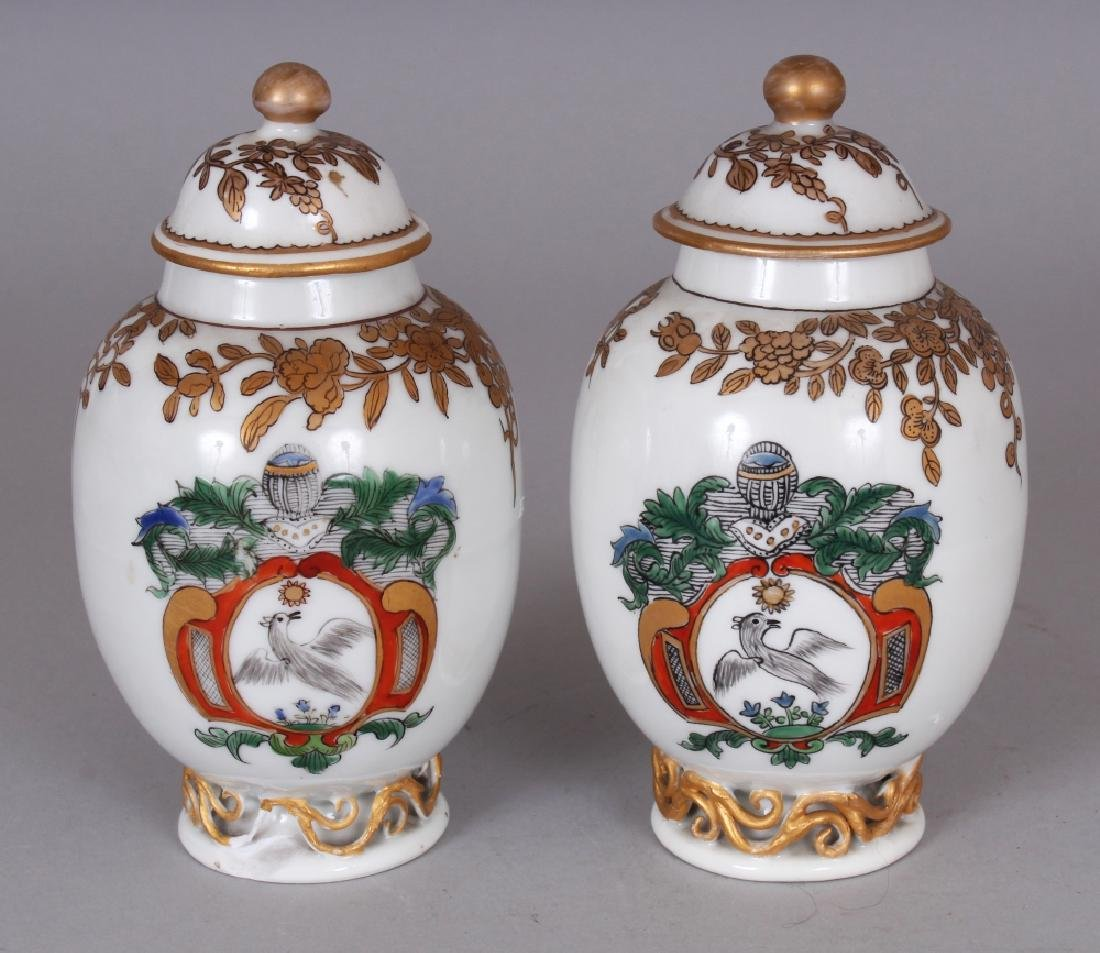 A PAIR OF SAMSON YONGZHENG STYLE FAMILLE ROSE ARMORIAL