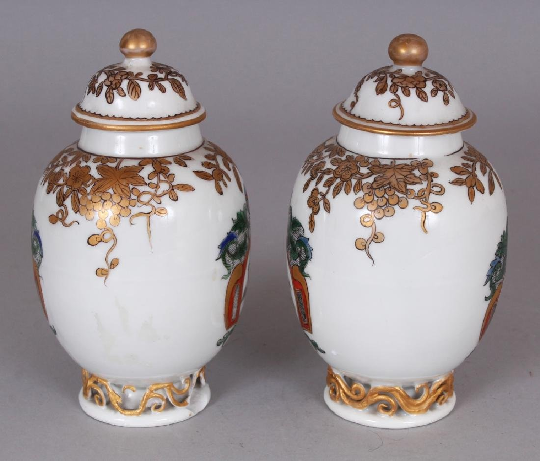 A PAIR OF SAMSON YONGZHENG STYLE FAMILLE ROSE ARMORIAL - 2