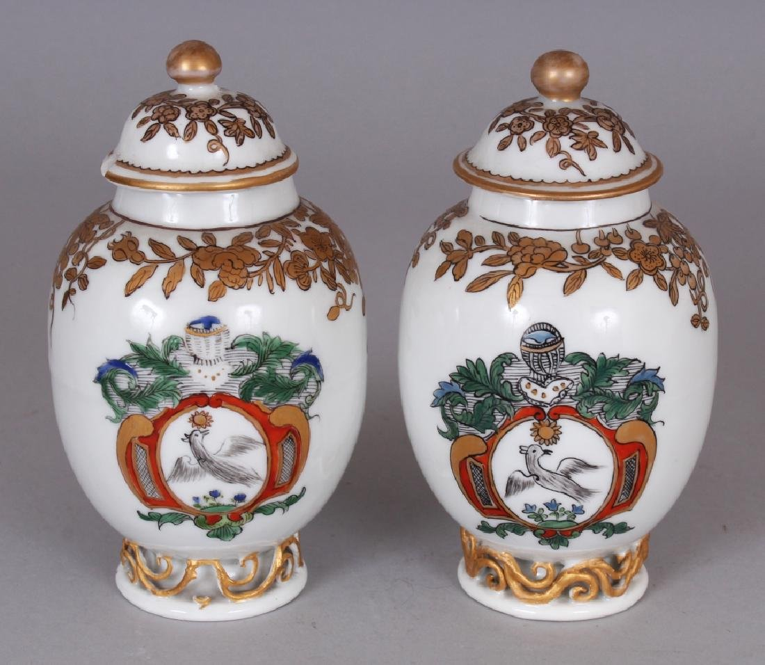 A PAIR OF SAMSON YONGZHENG STYLE FAMILLE ROSE ARMORIAL - 3