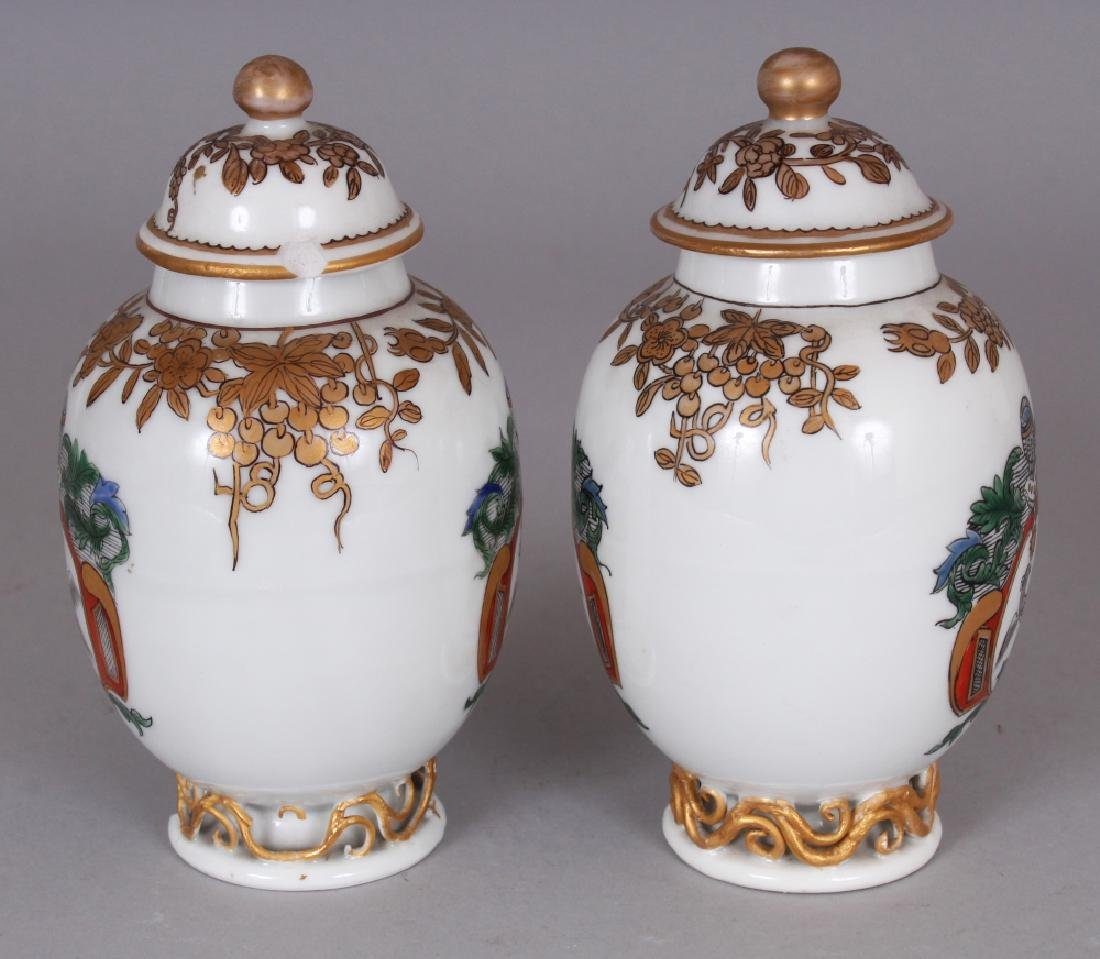 A PAIR OF SAMSON YONGZHENG STYLE FAMILLE ROSE ARMORIAL - 4