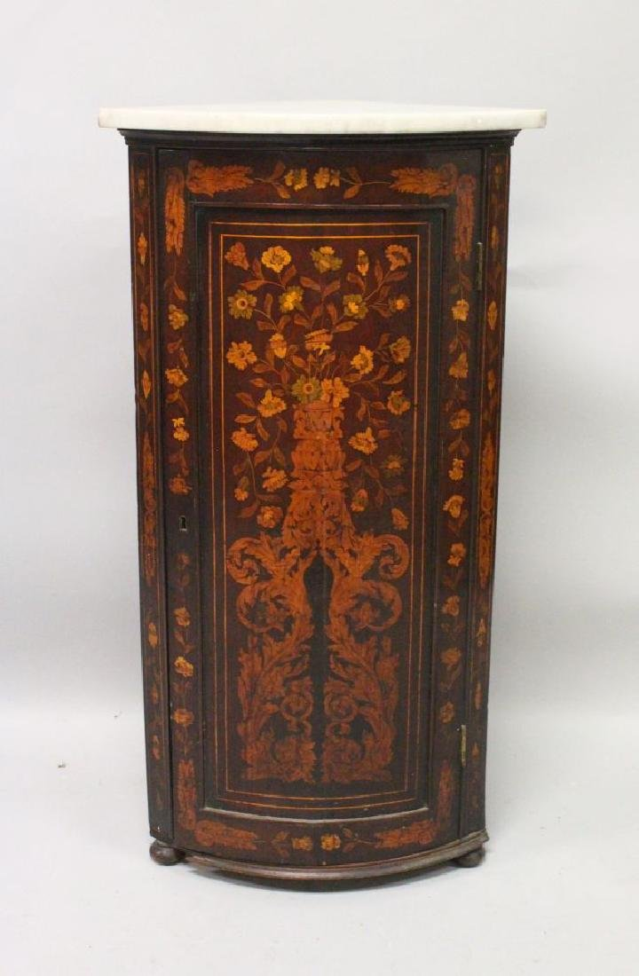 A 19TH CENTURY DUTCH MAHOGANY AND MARQUETRY BOWFRONT