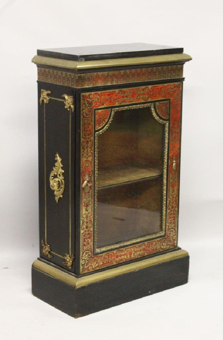 """A 19TH CENTURY """"BOULLE"""" PIER CABINET, with black marble"""