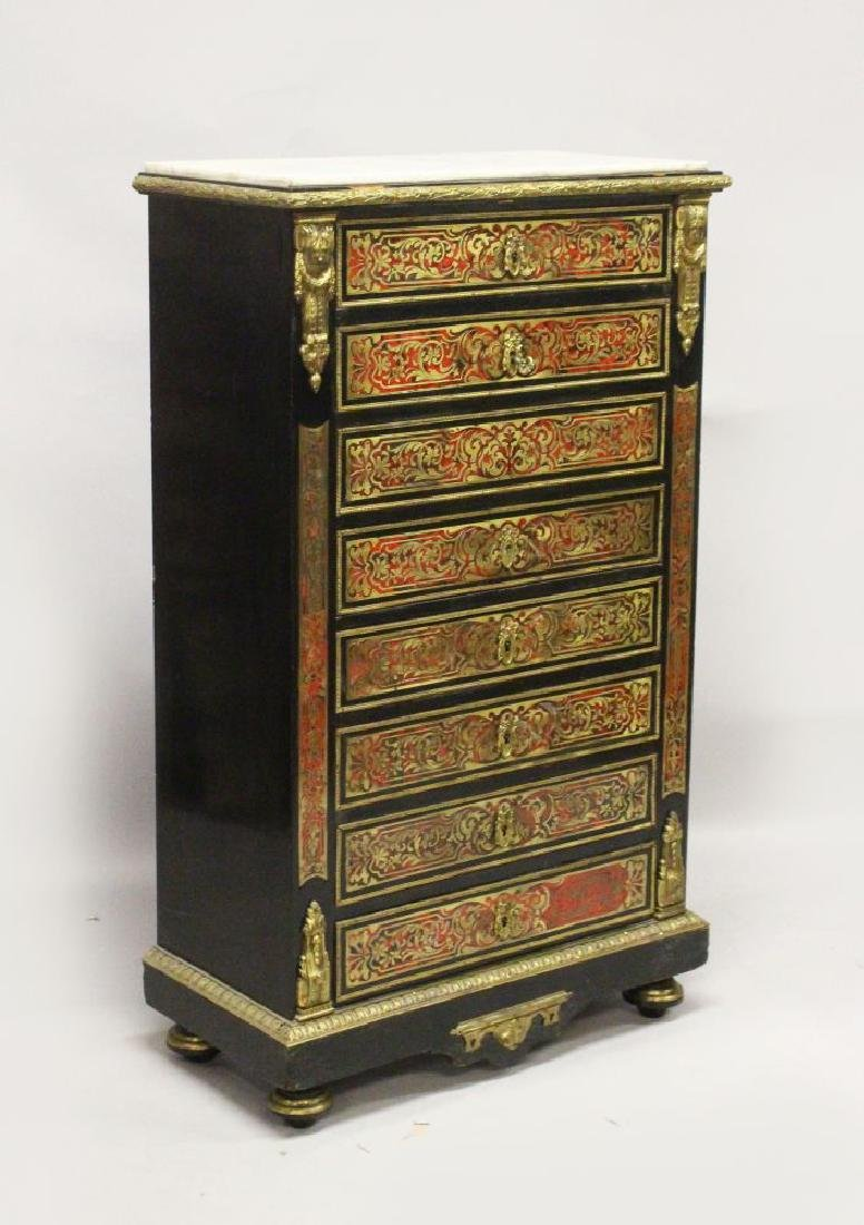 """A 19TH CENTURY """"BOULLE"""" SECRETAIRE CHEST, with grey"""