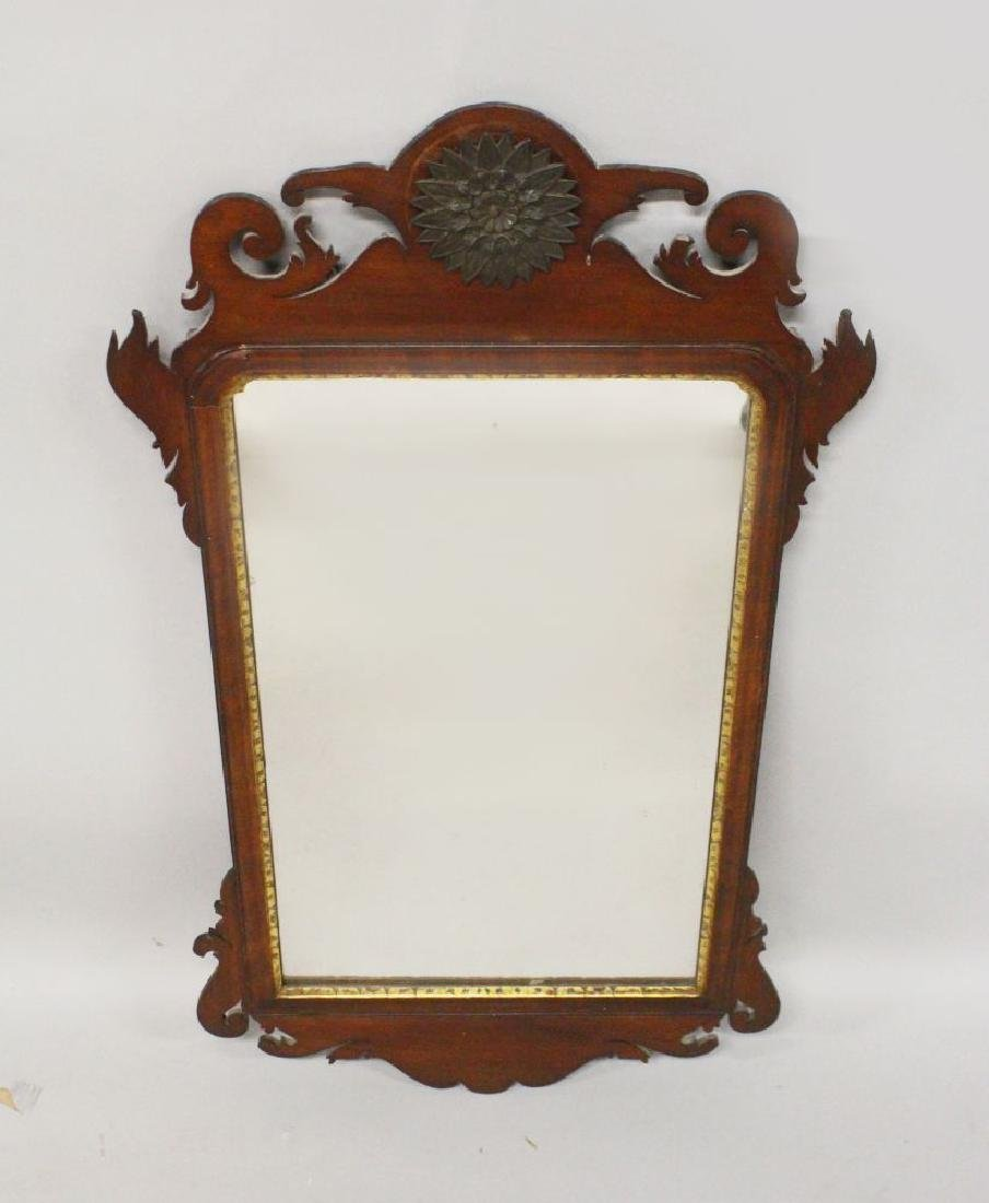 A GEORGE III MAHOGANY FRETWORK PIER MIRROR, with
